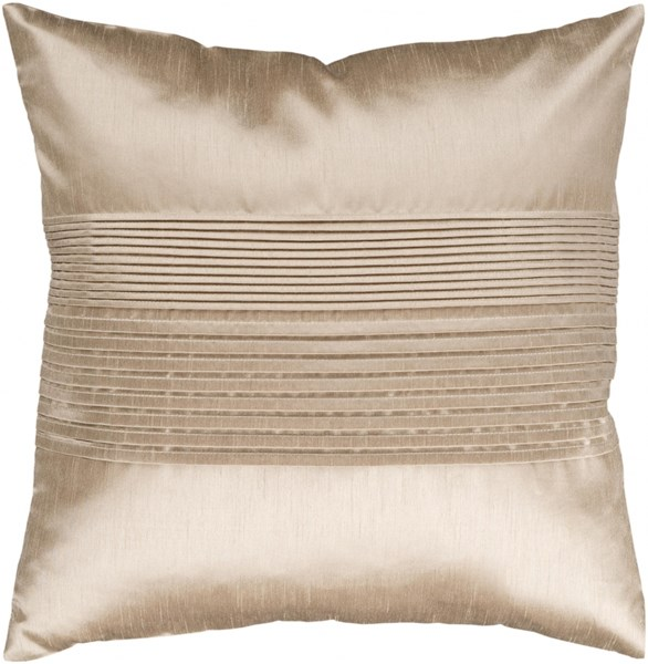 Solid Pleated Olive Down Polyester Throw Pillow - 18x18x4 HH019-1818D