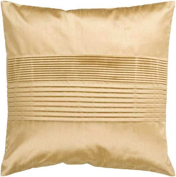Solid Pleated Gold Poly Polyester Throw Pillow - 22x22x5 HH022-2222P