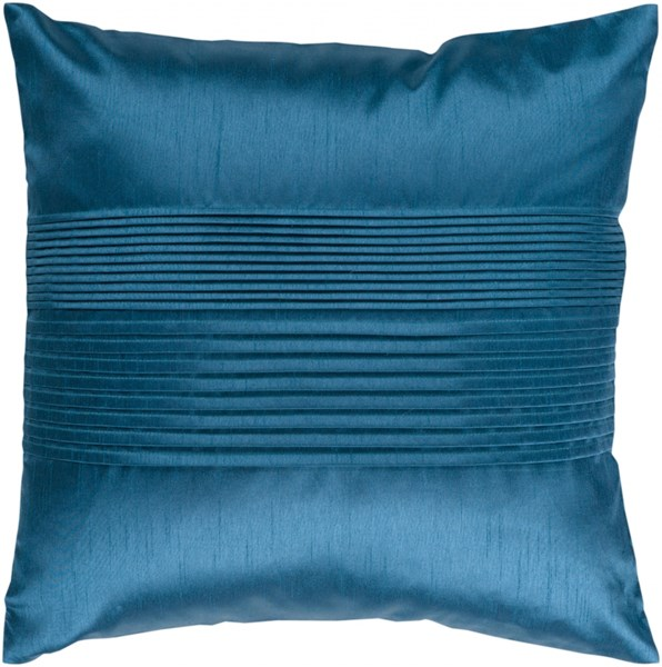 Solid Pleated Teal Down Polyester Throw Pillow - 18x18x4 HH024-1818D