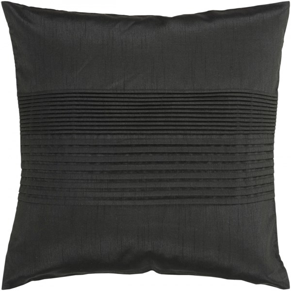 Solid Pleated Black Poly Polyester Throw Pillow - 22x22x5 HH027-2222P