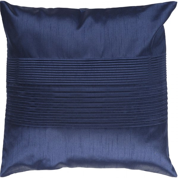 Solid Pleated Cobalt Down Polyester Throw Pillow - 22x22x5 HH029-2222D