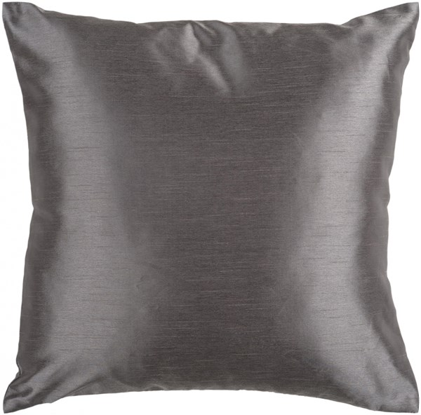 Solid Luxe Charcoal Poly Polyester Throw Pillow - 18x18x4 HH034-1818P