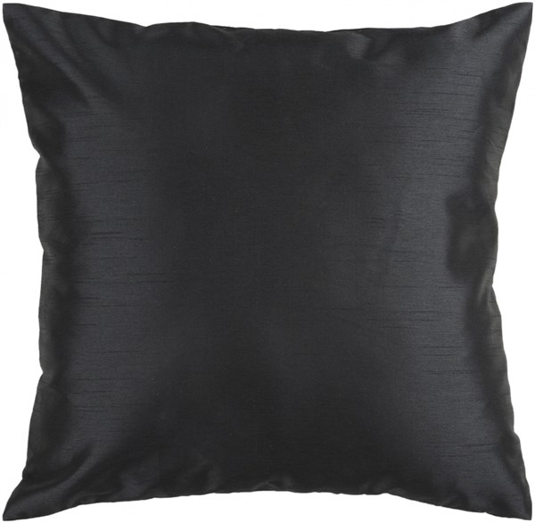 Solid Luxe Black Down Polyester Throw Pillow - 18x18x4 HH037-1818D
