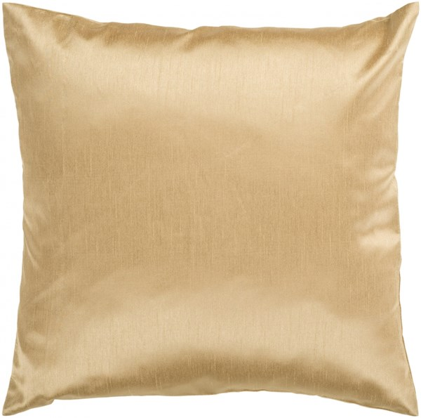 Solid Luxe Gold Poly Polyester Throw Pillow - 18x18x4 HH038-1818P