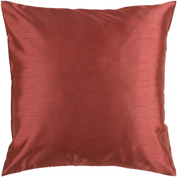 Solid Luxe Rust Poly Polyester Throw Pillow - 18x18x4 HH045-1818P