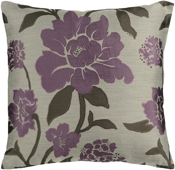Blossom Gray Mauve Black Poly Polyester Throw Pillow - 22x22x5 HH048-2222P