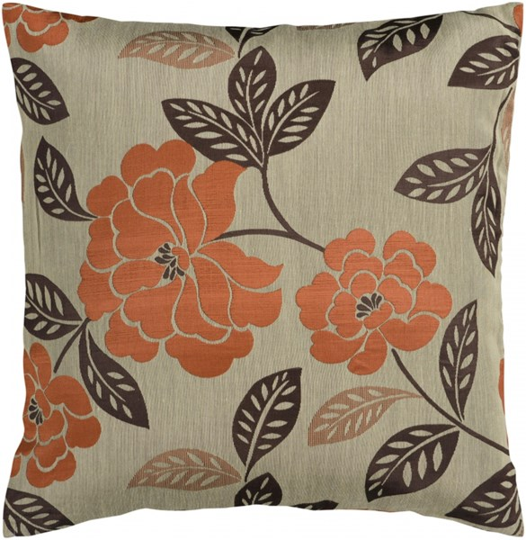 Blossom Olive Rust Black Down Polyester Throw Pillow - 18x18x4 HH053-1818D