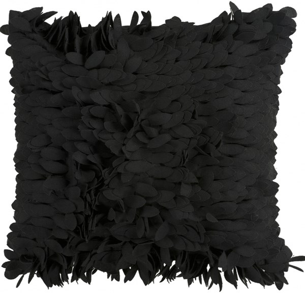 Claire Black Down Polyester Throw Pillow - 18x18x4 HH072-1818D