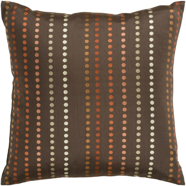 Dots Chocolate Rust Olive Poly Polyester Throw Pillow - 18x18x4 HH081-1818P