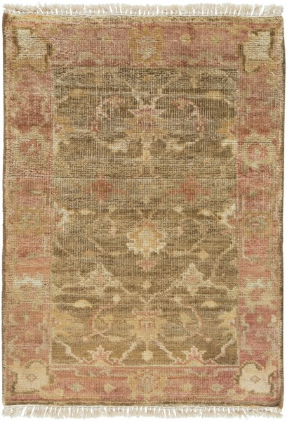 Hillcrest Beige Taupe Burgundy New Zealand Wool Area Rug - 24 x 36 HIL9004-23
