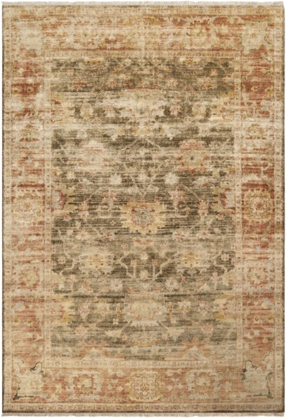 Hillcrest Beige Taupe Burgundy New Zealand Wool Area Rug - 66 x 102 HIL9004-5686