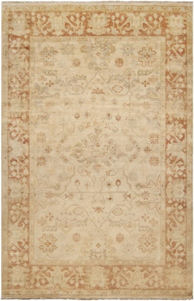 Hillcrest Beige Olive Gold Poppy New Zealand Wool Area Rug - 66 x 102 HIL9007-5686