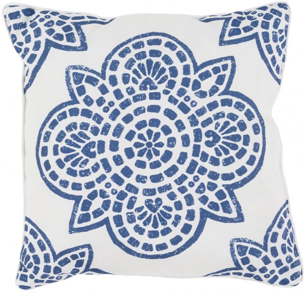 Hemma Cobalt Ivory Polyester Throw Pillow - 20x20x5 HM001-2020