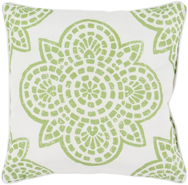 Hemma Lime Ivory Polyester Throw Pillow - 16x16x4 HM006-1616