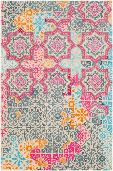 Surya Hannon Hill Bright Pink Sky Blue Area Rug - 36 x 24 HNO1004-23