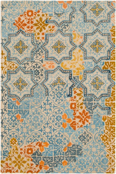 Surya Hannon Hill Aqua Khaki Burnt Orange Area Rug - 90 x 60 HNO1005-576