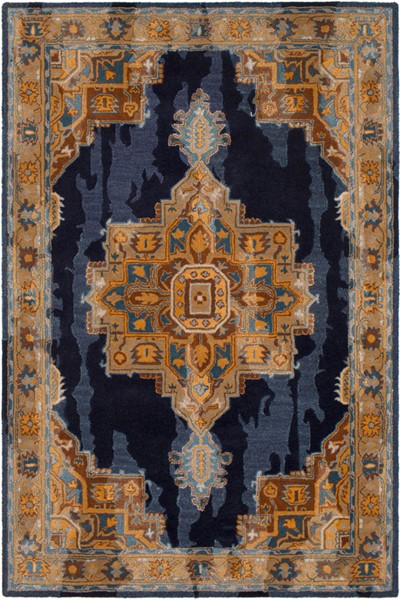 Surya Hannon Hill Navy Burnt Orange Medium Gray Area Rug - 90 x 60 HNO1009-576
