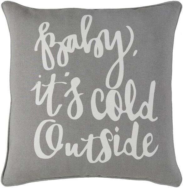 Surya Holiday Light Gray White Cotton Poly Pillow - 18x18 HOLI7257-1818P