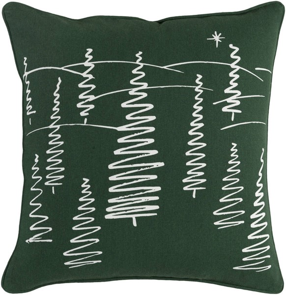 Surya Holiday Dark Green White Printed Down Pillow - 18x18 HOLI7263-1818D