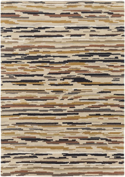 Surya Harlequin Black Burnt Orange Khaki Area Rug - 96 x 60 HQL8037-58