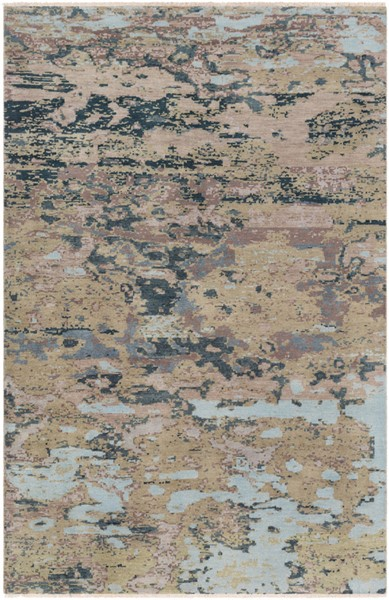 Surya Herkimer Aqua Medium Gray Dark Brown Area Rug - 156 x 108 HRK1002-913