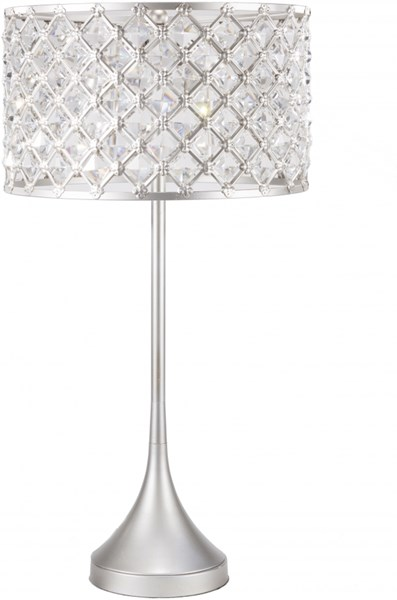 Harlow Brushed Silvertone Iron Crystal Table Lamp - 16x30 HRLP-001