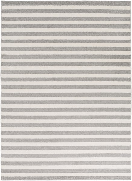 Horizon Ivory Charcoal Polypropylene Striped Area Rug (L 87 X W 63) HRZ1004-5373