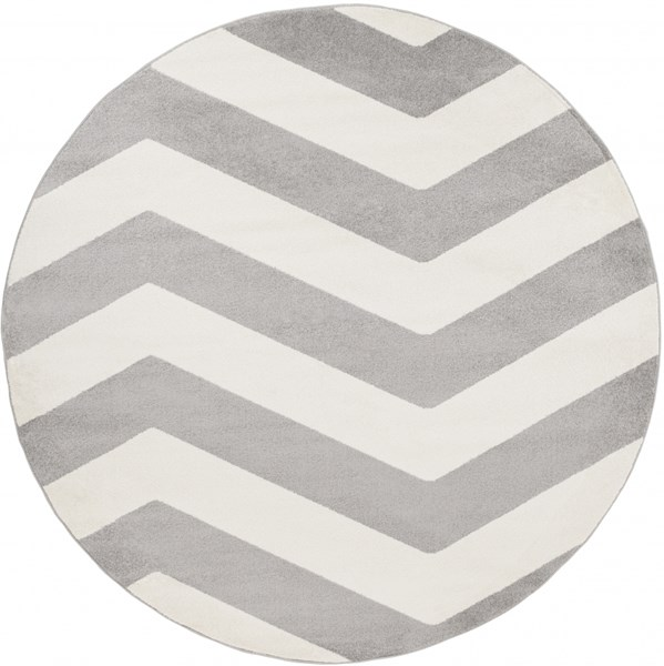 Horizon Contemporary Gray Ivory Polypropylene Area Rug (L 94 X W 94) HRZ1011-710RD