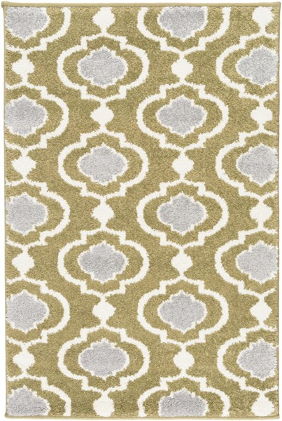 Horizon Contemporary Olive Ivory Charcoal Polypropylene Area Rugs 1852-VAR1
