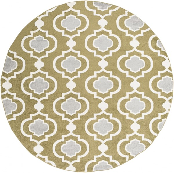 Horizon Olive Charcoal Polypropylene Round Area Rug - 94 x 94 HRZ1019-710RD