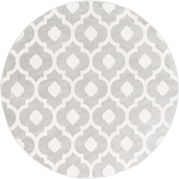 Horizon Ivory Light Gray Polypropylene Round Area Rug - 94 x 94 HRZ1097-710RD