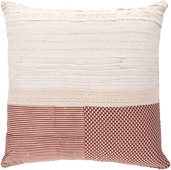 Surya Beige Red Fabric Square Pillow Kits HSK115-VAR