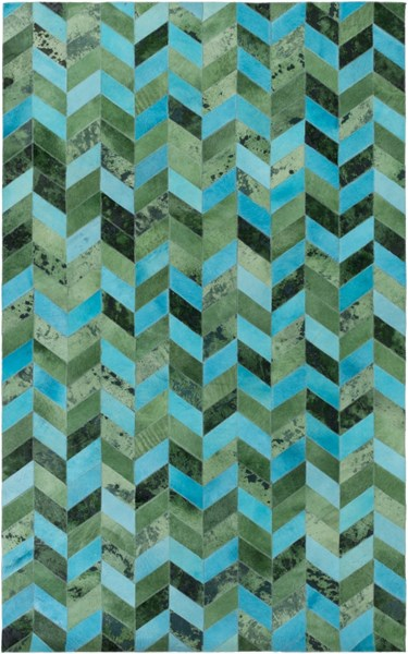 Houseman Modern Green Teal Charcoal Hand Crafted Area Rug HSM4044-58