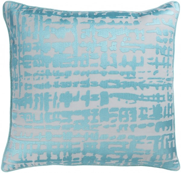 Hessian Aqua Light Gray Poly Linen Cotton Throw Pillow - 22x22x5 HSS004-2222P