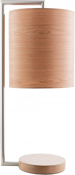 Hunter Brushed Nickel Metal Wood Veneer Table Lamp - 11x28 HULP002-TBL