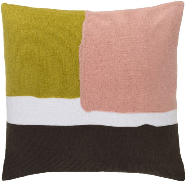 Harvey Pillow With Poly Fill In Gold Pastel Pink Ivory - 22X22X5 HV001-2222P
