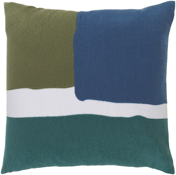 Harvey Pillow With Poly Fill In Forest Teal And Cobalt - 22X22X5 HV003-2222P