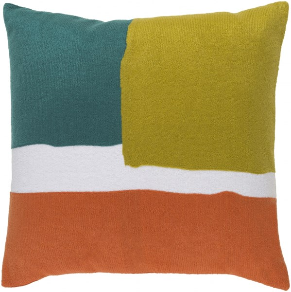 Harvey Pillow with Poly Fill in Teal Gold and Coral - 22 x 22 x 5 HV004-2222P