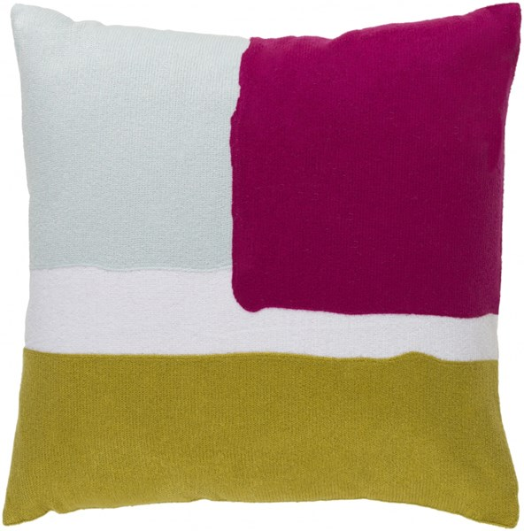 Harvey Pillow With Down Fill In Light Gray Gold Hot Pink - 18x18X4 HV005-1818D