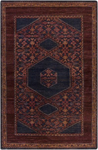 Haven Contemporary Burgundy Cherry Navy Wool Area Rugs 934-VAR1