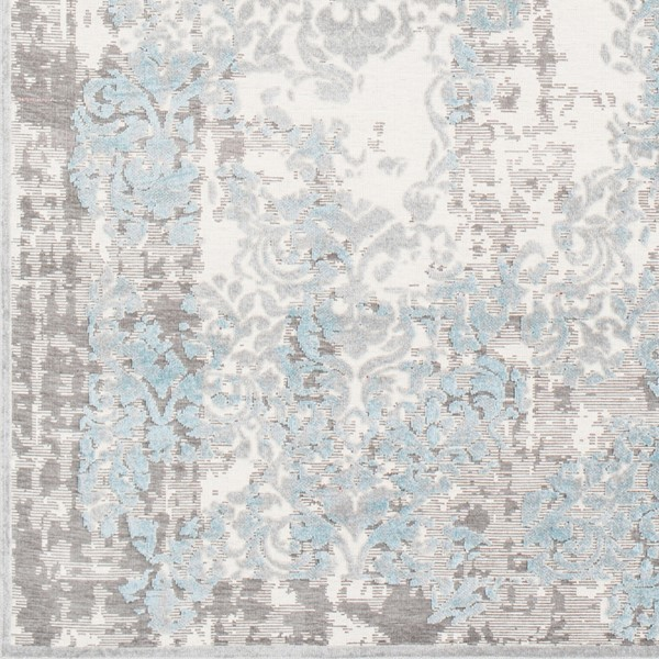 Surya Hazar Transitional Ivory Charcoal Light Gray Sample Area Rug - 18 x 18 HZR2300-1616