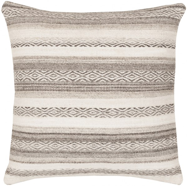 Isabella Gray Ivory Charcoal Poly Cotton Throw Pillow - 30x30x5 IB002-3030P
