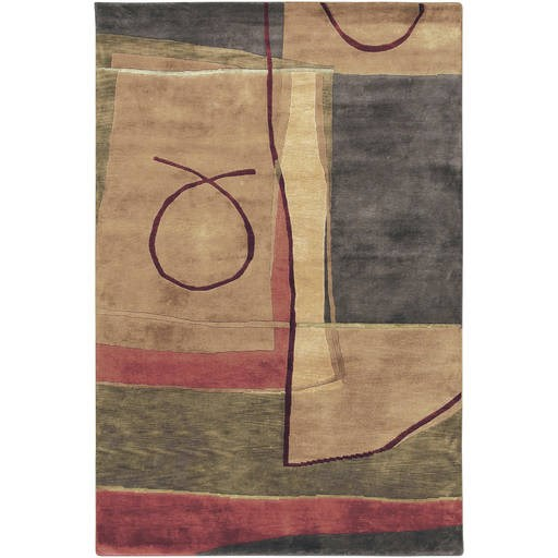 Mugal Contemporary Black Tan Olive Wool Area Rug IN8043-VAR