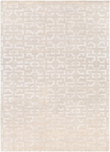 Mugal Contemporary Beige Wool Hand Knot Area Rug (L 132 X W 96) IN8578-811