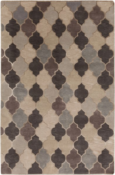 Mugal Light Gray Charcoal Taupe Wool Area Rug (l 96 X W 60) IN8616-58
