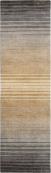 Indus Valley Beige Taupe Charcoal New Zealand Wool Runner - 30 x 96 IND95-268