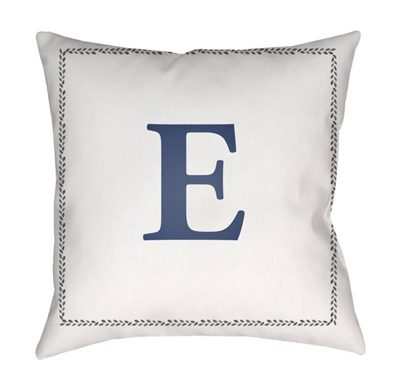 Surya Initials White Blue E Pillow Cover - 18x18 INT005-1818