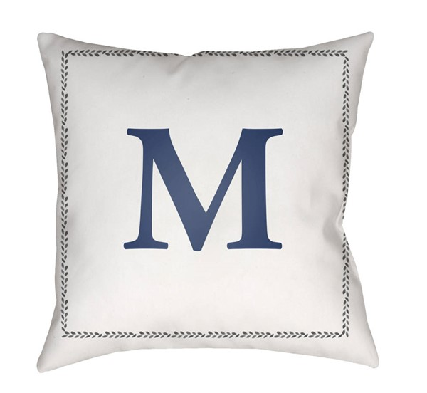 Surya Initials White Blue M Pillow Cover - 18x18 INT013-1818