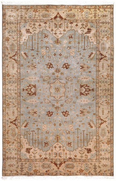 Adana Traditional Light Gray Beige Taupe Wool Area Rug (L 102 X W 66) IT1013-5686