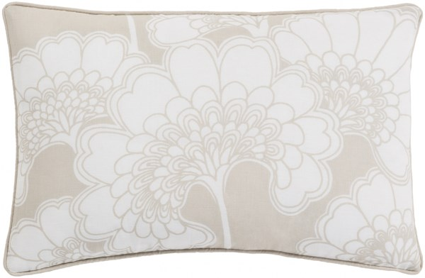 Japanese Floral Beige Ivory Poly Linen Cotton Lumbar Pillow - 20x13 JA001-1320P